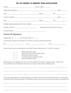 Ministry Team Application
