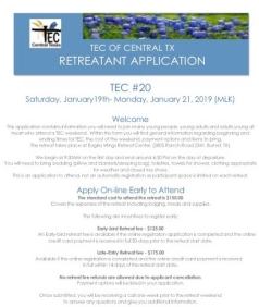Central TX TEC #20 Retreatant Application 0618