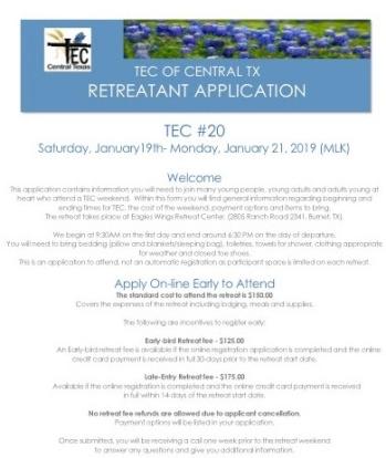 Central TX TEC #20 Retreatant Application 0618