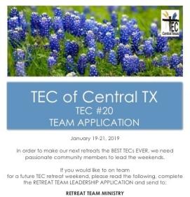 TEC #20 Retreat Team Application