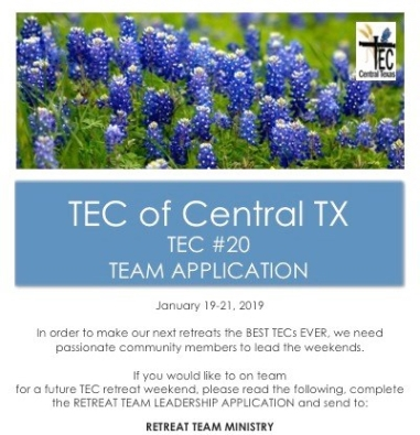TEC #20 Retreat Team Application